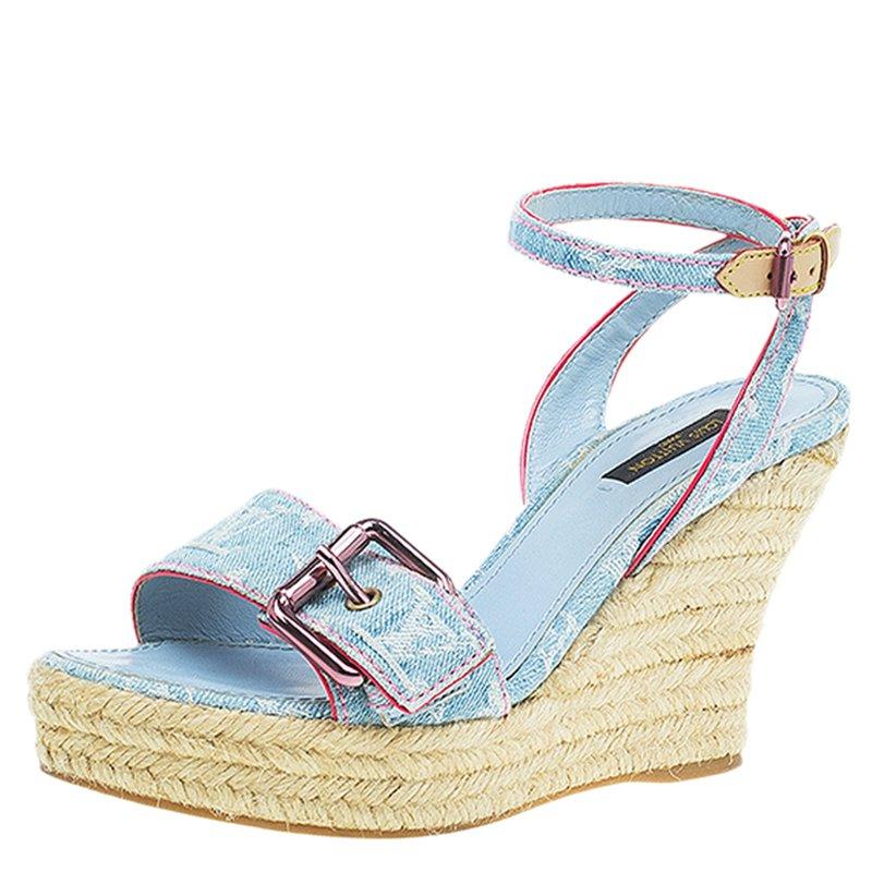 2e3b66107da ... Louis Vuitton Blue Monogram Denim Espadrille Wedge Sandals Size 38.  nextprev. prevnext