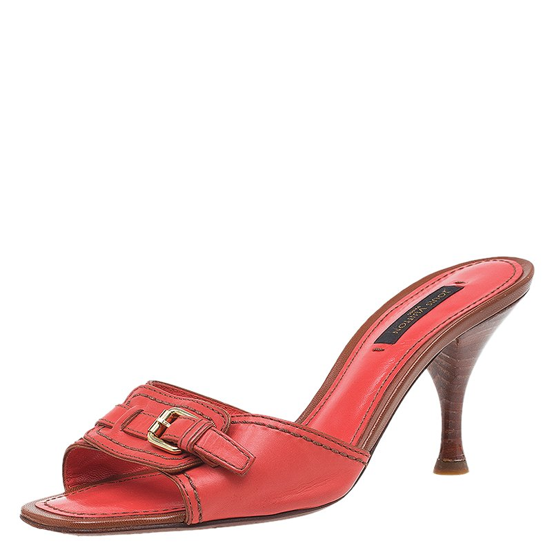 Louis Vuitton Coral Leather Buckle Detail Mules Size 36