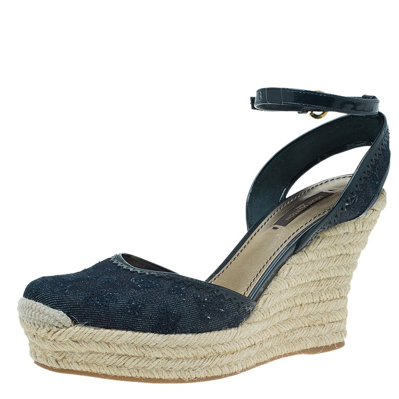6c59144319 ... Size 38 Nextprev Prevnext. Louis Vuitton Navy Blue Monogram Canvas  Espadrille Wedge Sandals