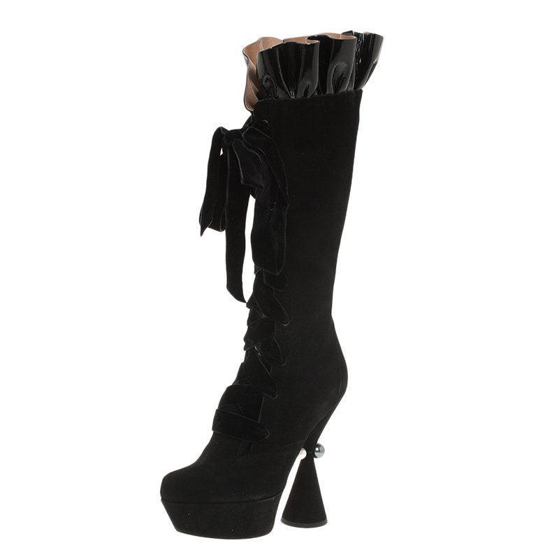 a8a7bad1141 ... Louis Vuitton Black Suede and Patent Ruffle Cancan Velvet Lace Up Knee  Boots Size 37. nextprev. prevnext