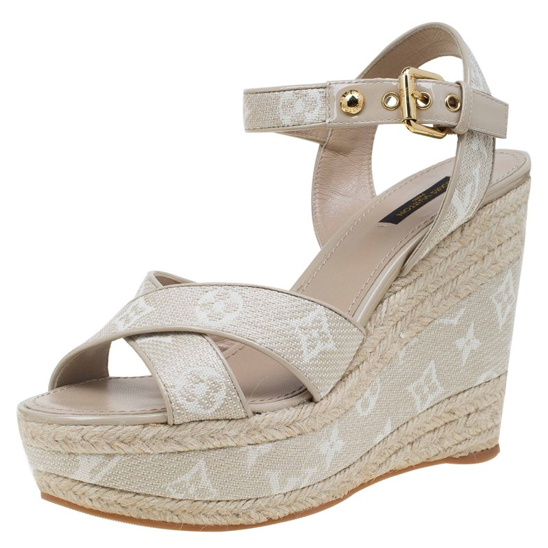 e76861318 ... Louis Vuitton Beige Canvas Monogram Formentera Espadrilles Wedge Sandals  Size 39.5. nextprev. prevnext