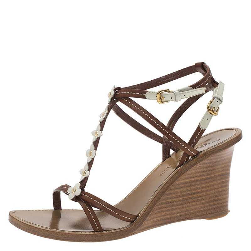3f84f011667 ... Louis Vuitton Brown and White Leather Flower Detail Wedge Sandals Size  40.5. nextprev. prevnext