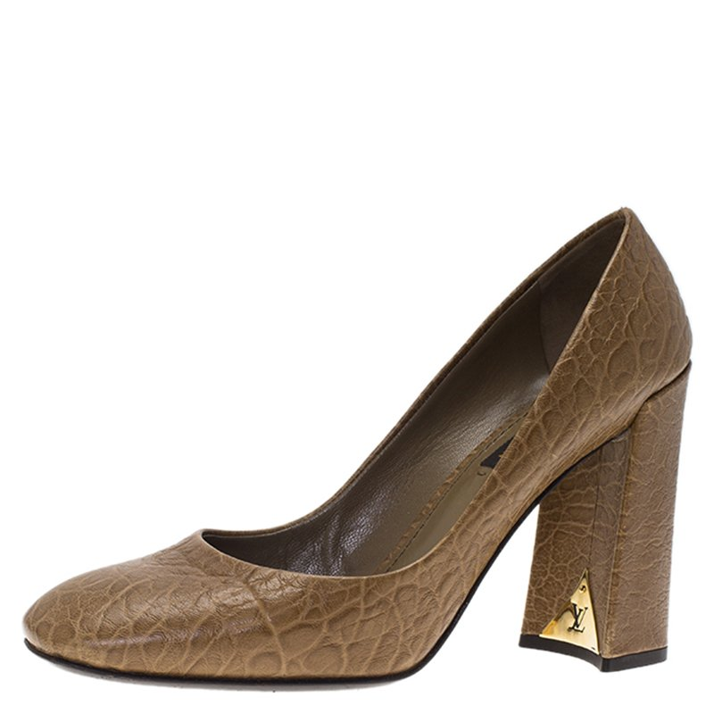 حذاء كعب عالي لوي فيتون بنعل سميك جلد مشقق بني مقاس 395
