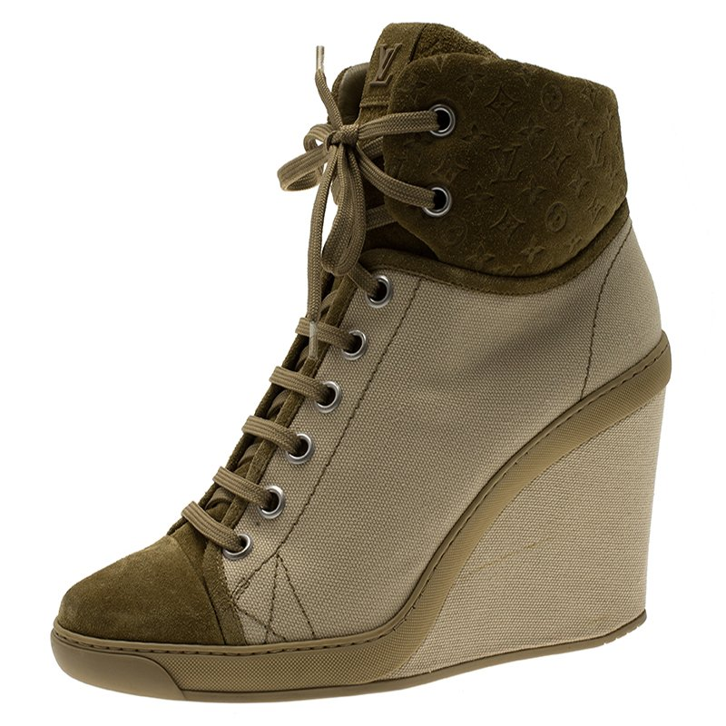 808d204bc470 ... Louis Vuitton Beige Batignolles Wedge High Top Sneakers Size 40.  nextprev. prevnext