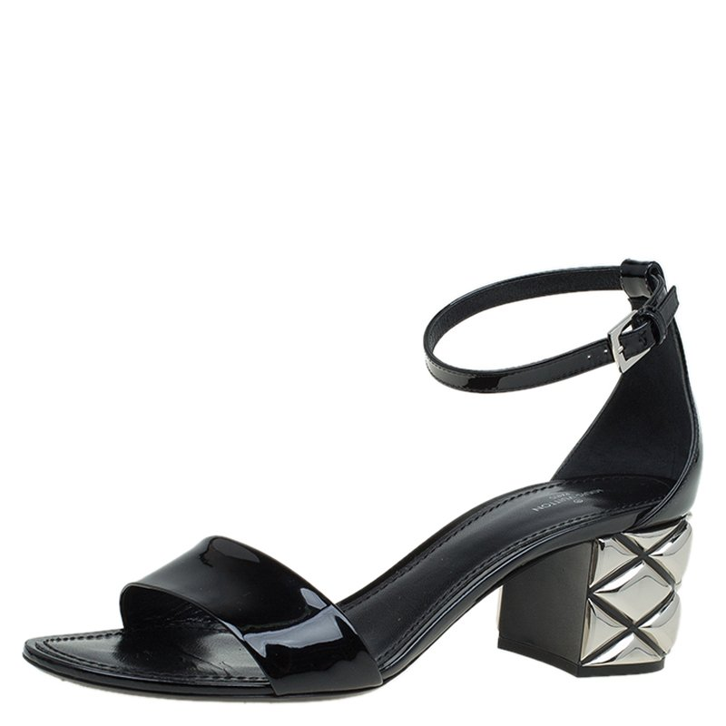 6dc3c7ac0785 Buy Louis Vuitton Black Patent Silver Light Ankle Strap Sandals Size ...