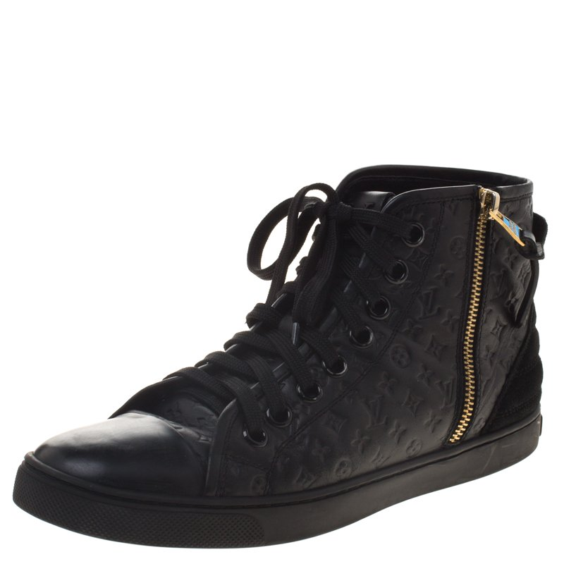 a5b8f2db0cc Louis Vuitton Black Monogram Embossed Leather Punchy High Top Sneakers Size  37