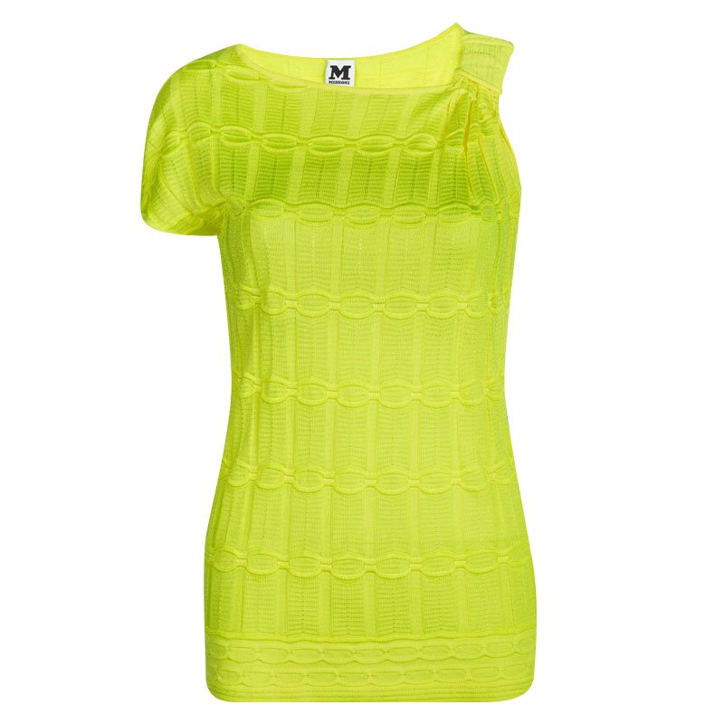 M Missoni Neon Yellow Patterned Knit One Side Sleeve Top M