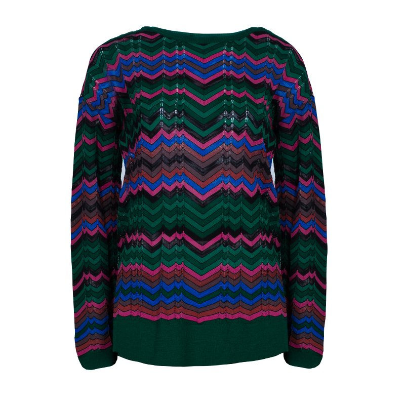 b6cd2f8c4e66 Buy M Missoni Multicolor Knit Zig-Zag Jumper M 45586 at best price
