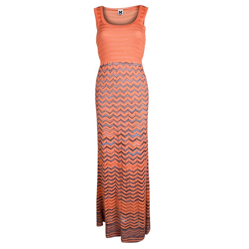 M Missoni Orange Knit Chevron Pattern Sleeveless Maxi Dress S