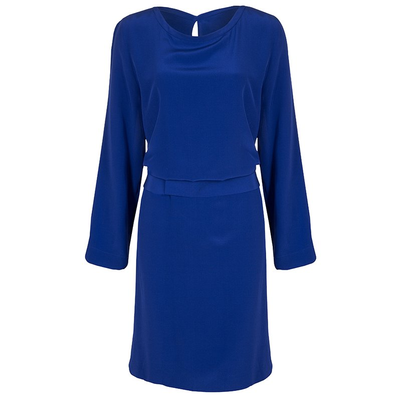 Maison Martin Margiela Blue Silk Belted Long Sleeve Dress M
