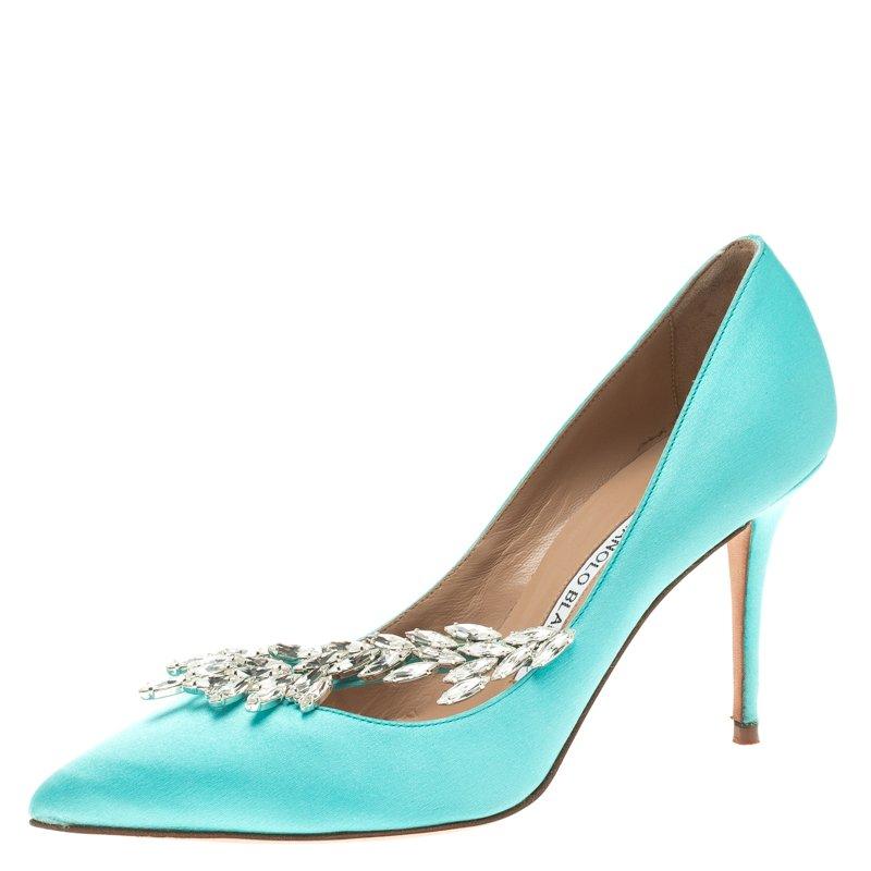 985be14813e Buy Manolo Blahnik Sky Blue Crystal Embellished Satin Nadira Pointed ...