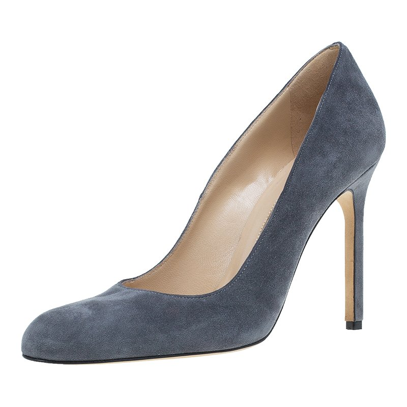 986e90fb730ed Buy Manolo Blahnik Grey Suede BB Pumps Size 36.5 46458 at best price ...