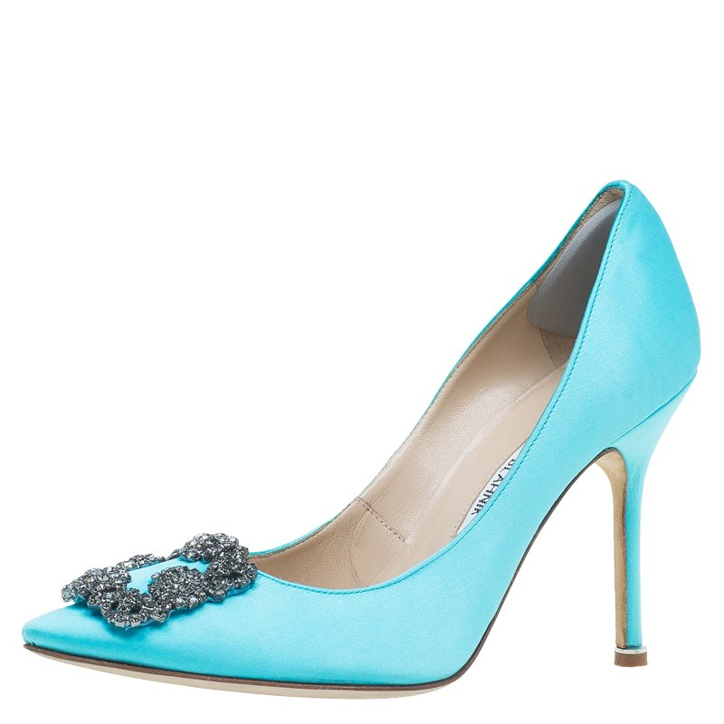 a232303ba66 ... Manolo Blahnik Light Blue Satin Hangisi Embellished Pumps Size 37.  nextprev. prevnext