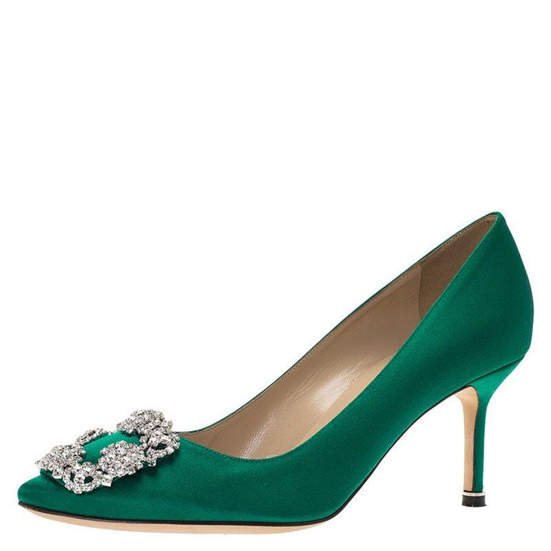 6220a4b9aac ... Manolo Blahnik Green Satin Hangisi Embellished Pumps Size 37.5.  nextprev. prevnext