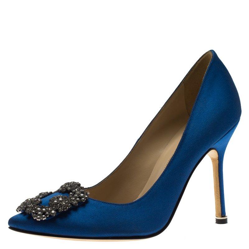 3016217e82fb8 ... Manolo Blahnik Blue Embellished Satin Hangisi Pumps Size 36. nextprev.  prevnext