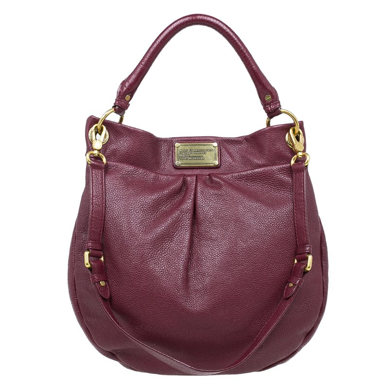 Buy Marc by Marc Jacobs Burgundy Leather Classic Q Hillier Hobo Bag ... 1e25d3807f