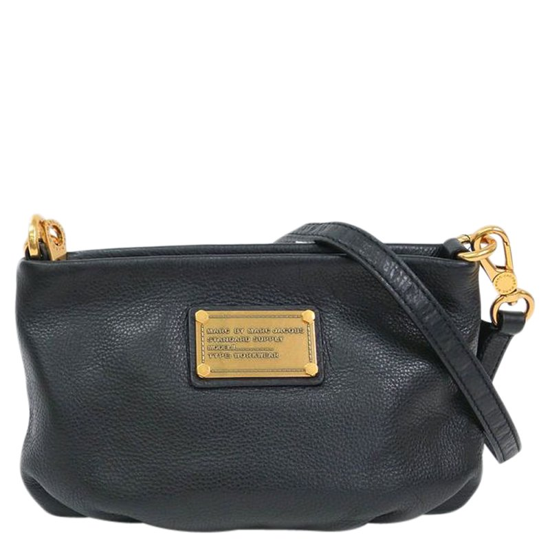 Marc by Marc Jacobs Black Leather Classic Q Percy Crossbody Bag