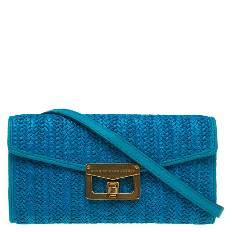 4367f591b33a ... Marc Jacobs Blue Straw and Leather Bianca Wallet on Chain. nextprev.  prevnext