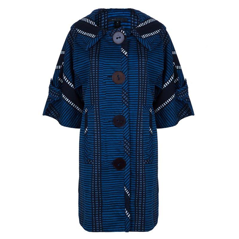 Marc Jacobs Blue Geometric Print Coat S