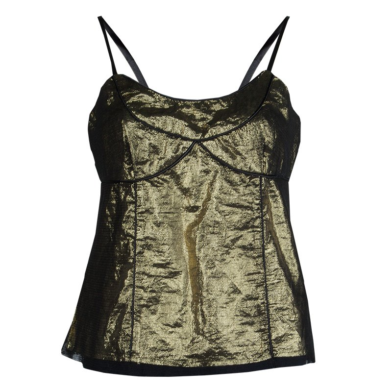 4f0af0feb6be07 Buy Marc Jacobs Metallic Gold Mesh Overlay Sleeveless Top M 63506 at ...