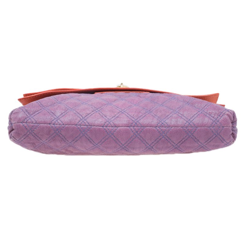 design de qualité 205af cd77b Marc Jacobs Purple/Orange Quilted Leather Oversized Pochette