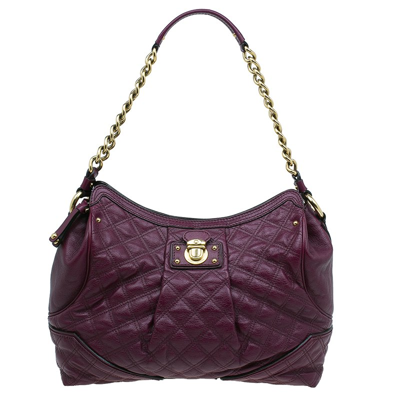 c4565d91ece3 Buy Marc Jacobs Purple Quilted Leather Alyona Hobo Bag 44146 at best ...