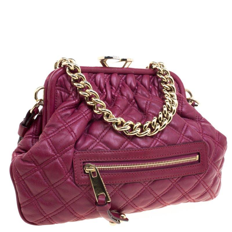 Marc Jacobs Burgundy Leather Mini Stam Shoulder Bag