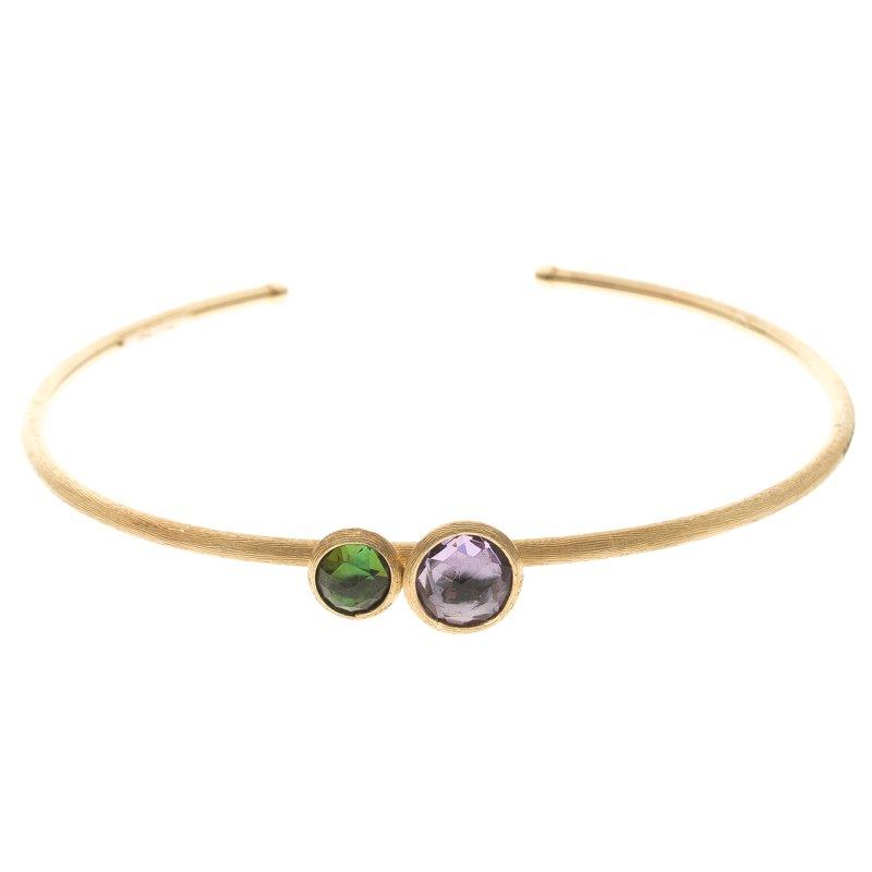 Marco Bicego Jaipur Mixed Gemstone18k Yellow Gold Slim Open Cuff Bracelet