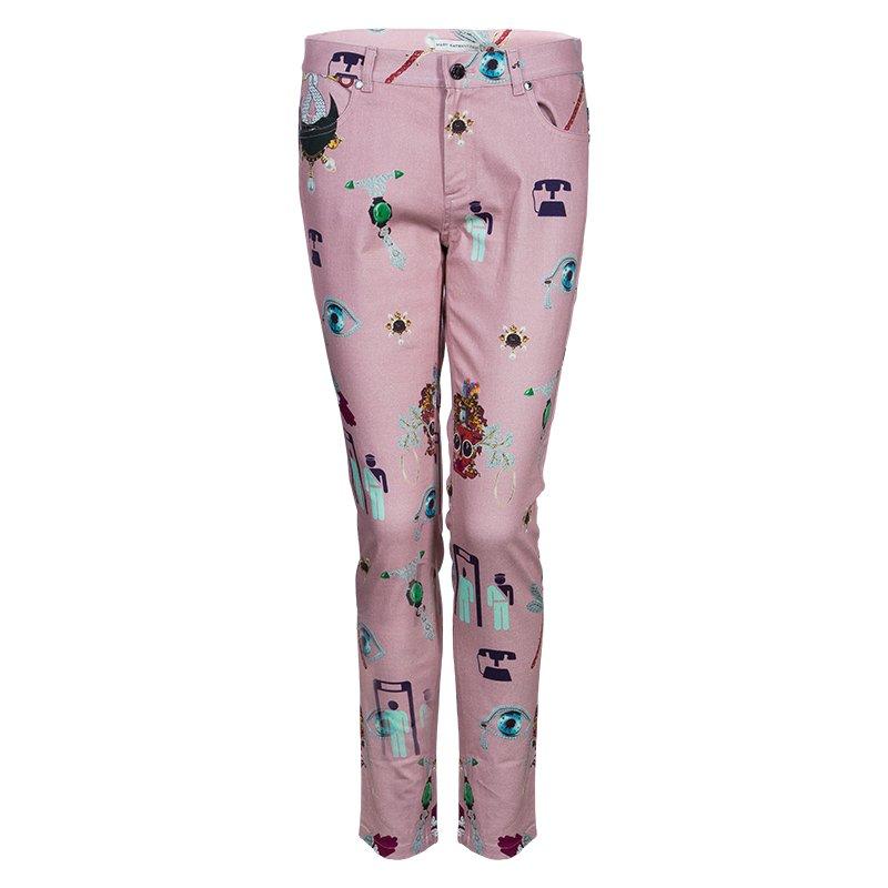 Mary Katrantzou Pink Printed Denim Trousers M