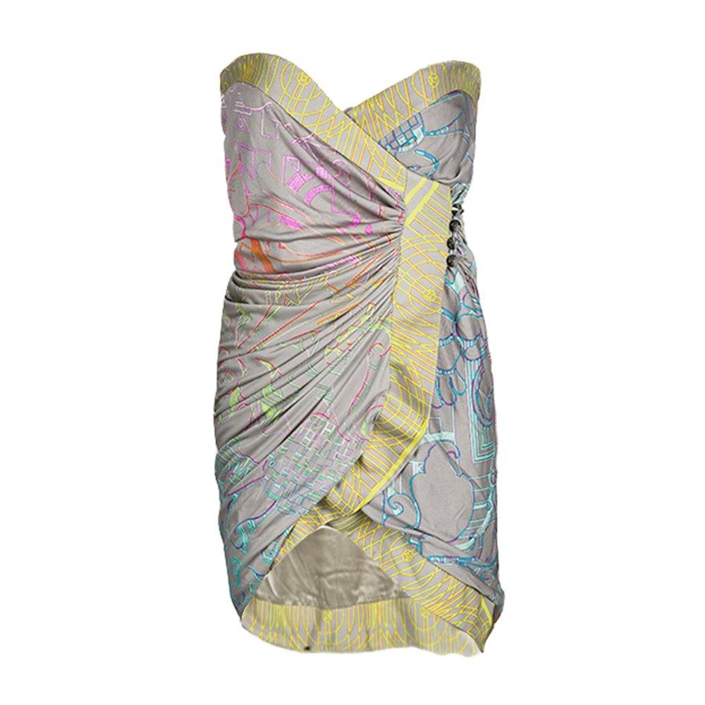 Matthew Williamson Multicolor Printed Silk Jersey Strapless Mini Wrap Dress S