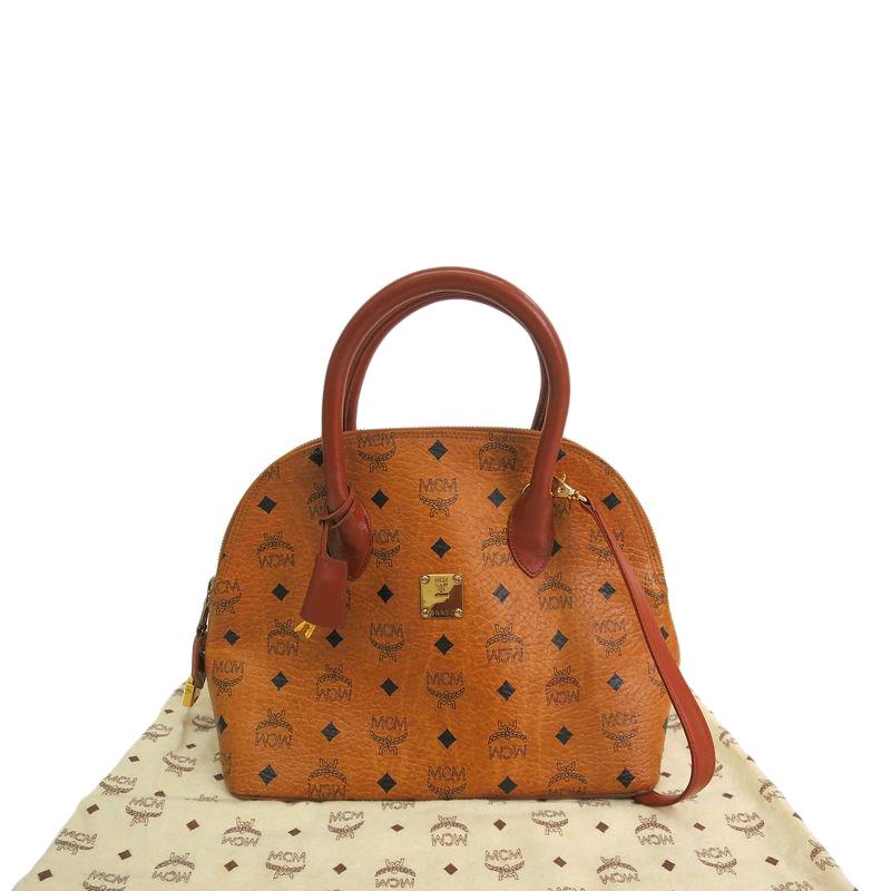 Mcm Cognac Visetos Coated Canvas Medium Heritage Bowler Top Handle Bag