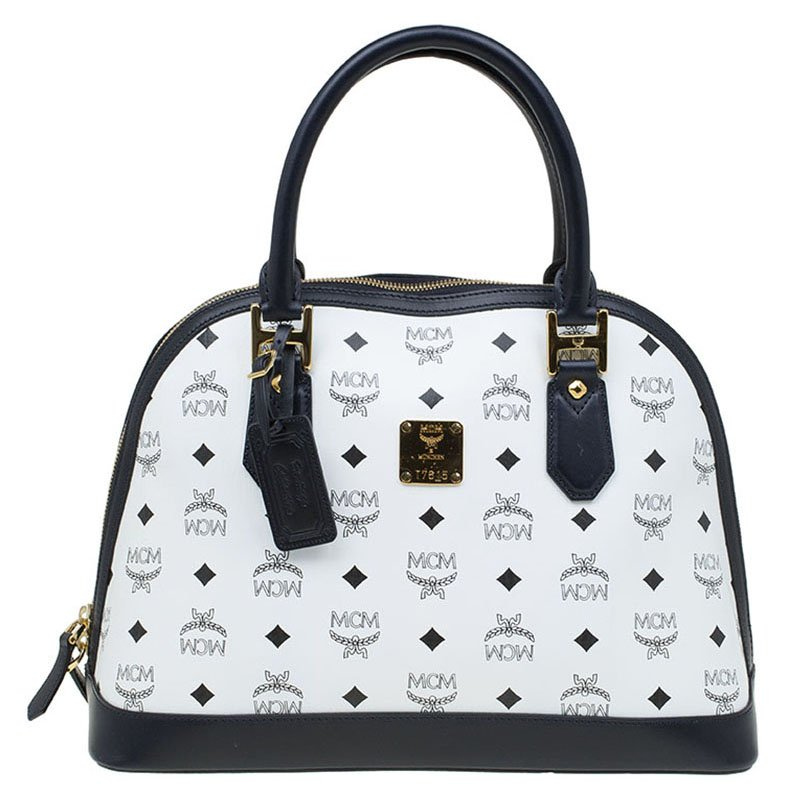 Mcm White Leather Heritage Logo Bowler Bag
