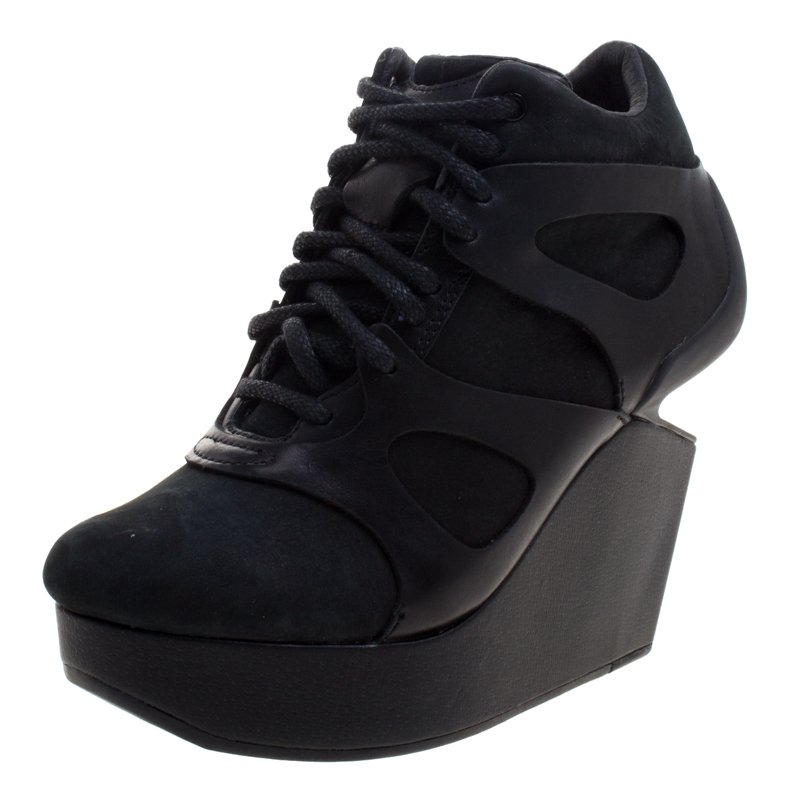 McQ By Alexander McQueen For Puma Black Leather and Nubuck Leap Wedge Sneakers Size 35.5