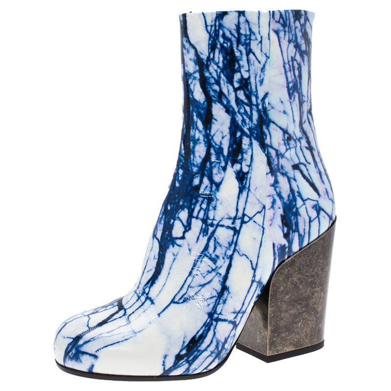 McQ by Alexander McQueen Blue and White Printed Leather Geffrye Boots Size 37