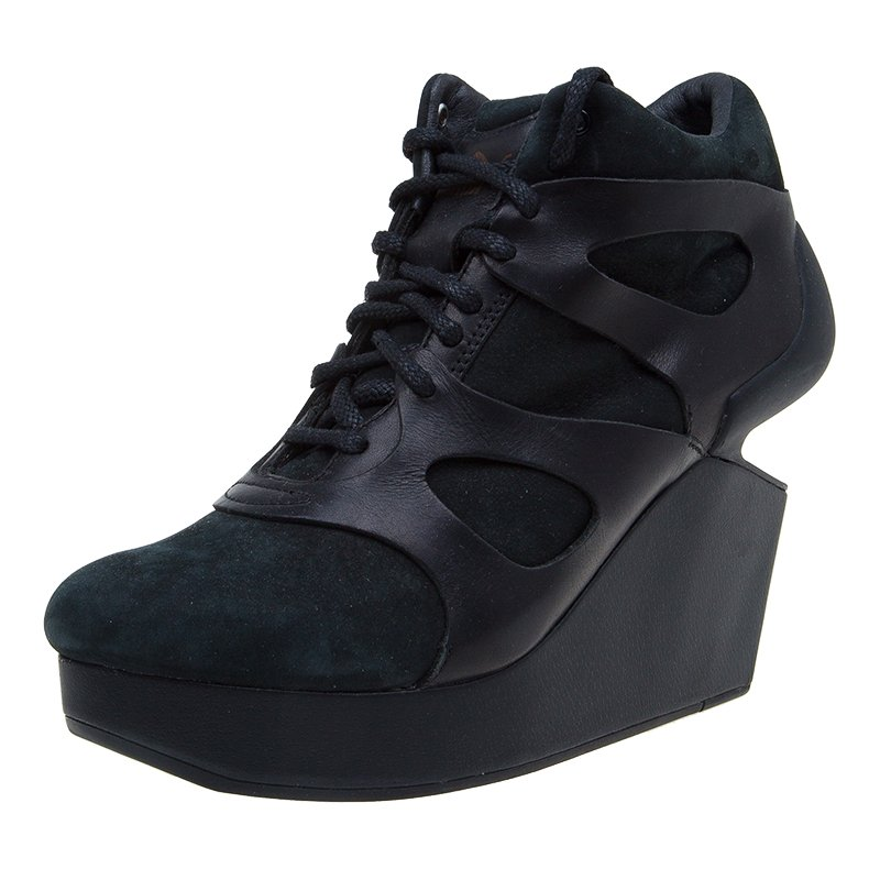 pas cher pour réduction 1b240 6b393 McQ By Alexander McQueen For Puma Black Leather and Nubuck Leap Wedge  Sneakers Size 42
