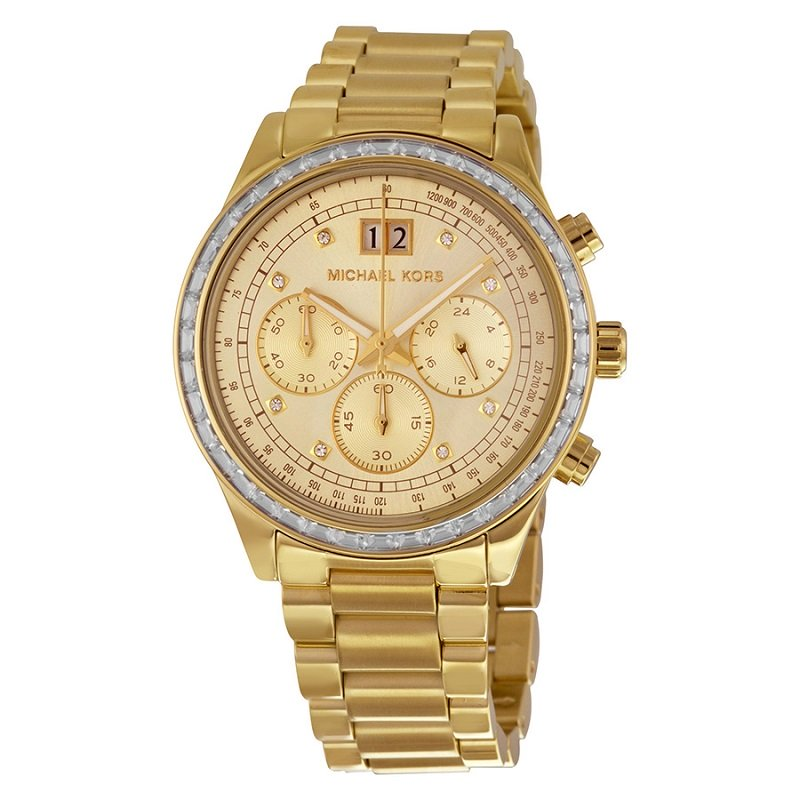 Michael Kors Champagne Gold-Plated Stainless Steel Brinkley MK6187 Women's Wristwatch 40MM