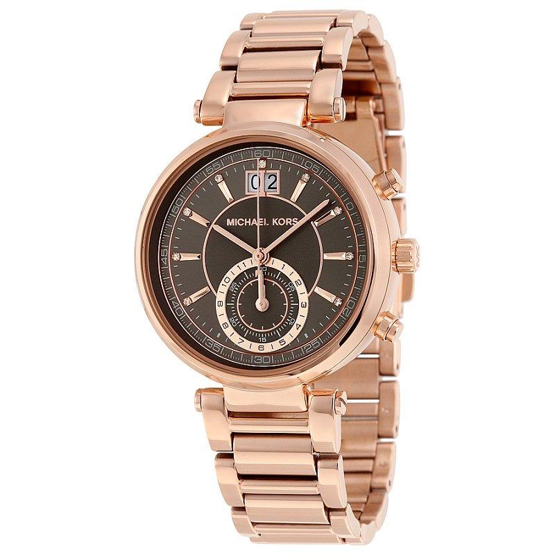 Michael Kors Grey Rose Gold-Plated Stainless Steel Sawyer MK6226 Women's Wristwatch 39MM