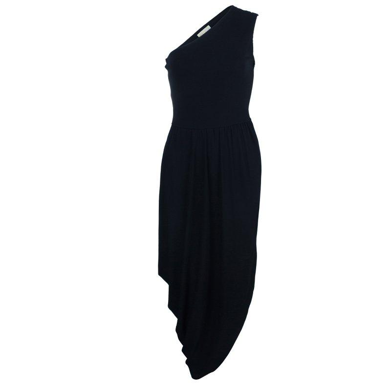Michael Kors Black One Shoulder Crepe Maxi Dress S