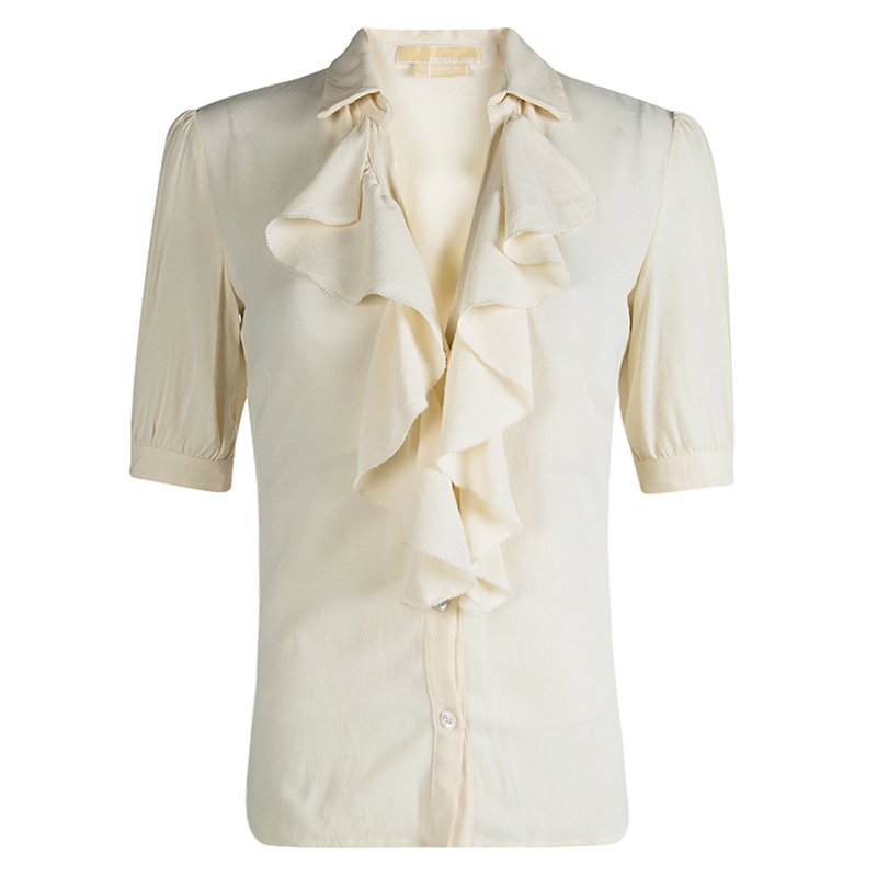 Michael Kors Cream Silk Ruffle Front Detail Blouse S