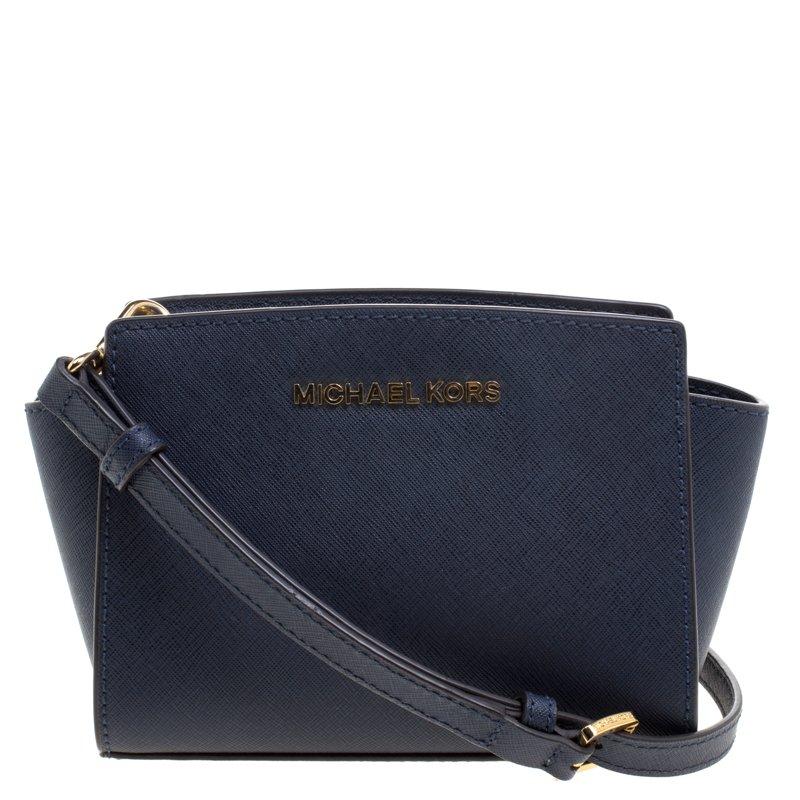 68f9aa556e92 ... Michael Kors Navy Blue Saffiano Leather Mini Selma Crossbody Bag.  nextprev. prevnext