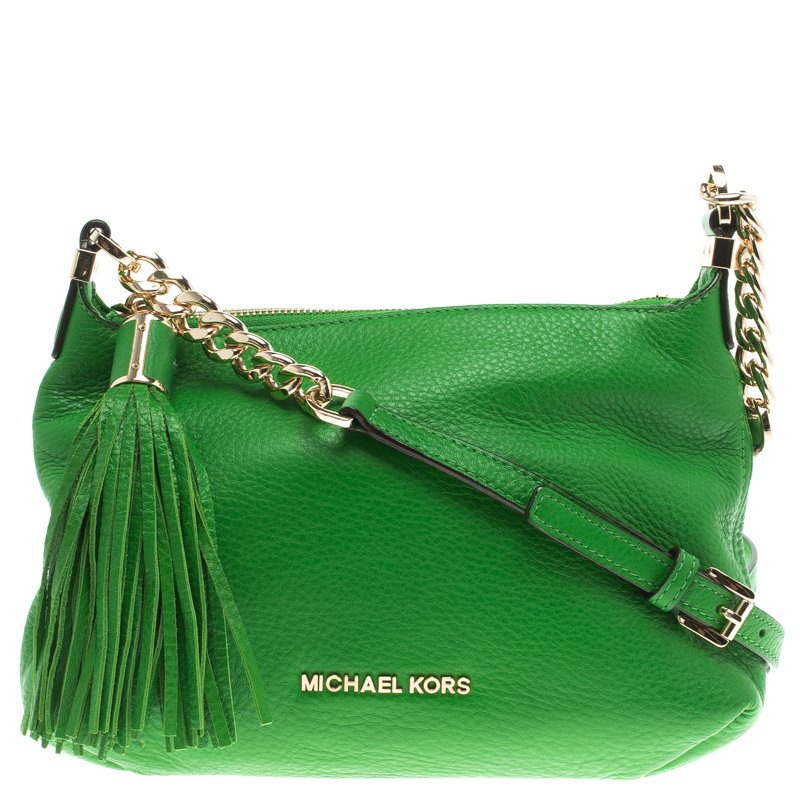 5d405de64f4944 ... Michael Kors Green Leather Bedford Tassel Crossbody Bag. nextprev.  prevnext