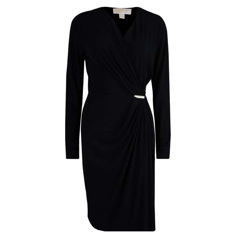 Michael Michael Kors Black Draped Long Sleeve Dress M