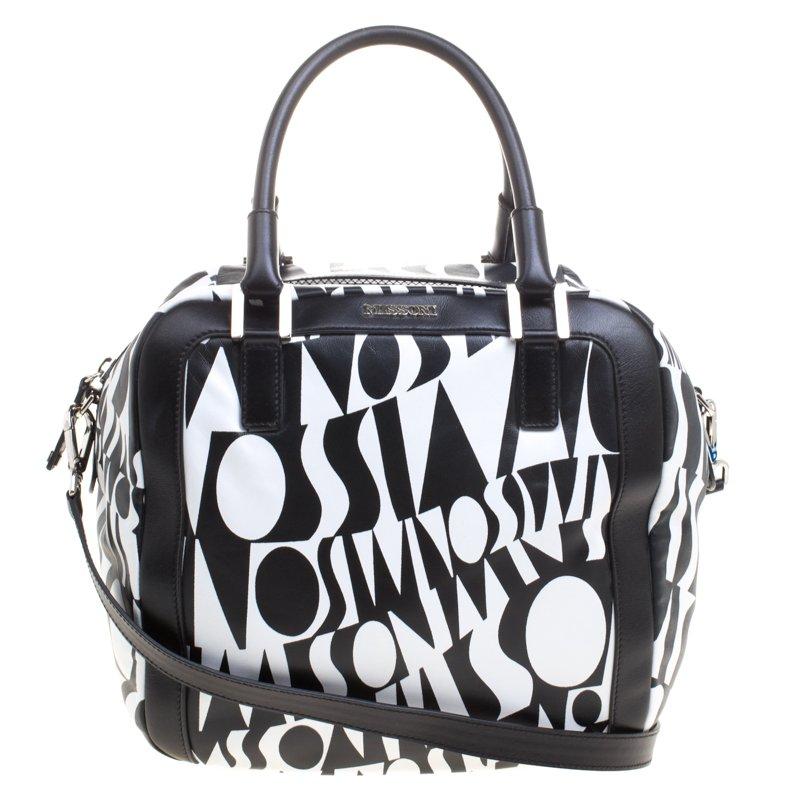e5c5cc5cd211d ... Missoni Black and White Leather Logo Print Tote. nextprev. prevnext