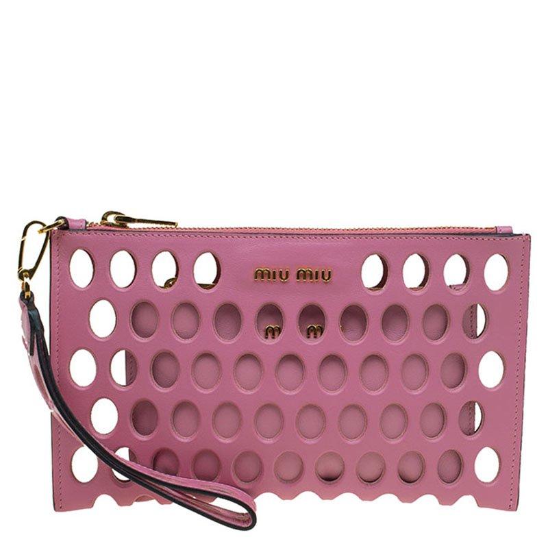 a0ae91993 ... Miu Miu Pink Perforated Leather Wristlet Pouch. nextprev. prevnext
