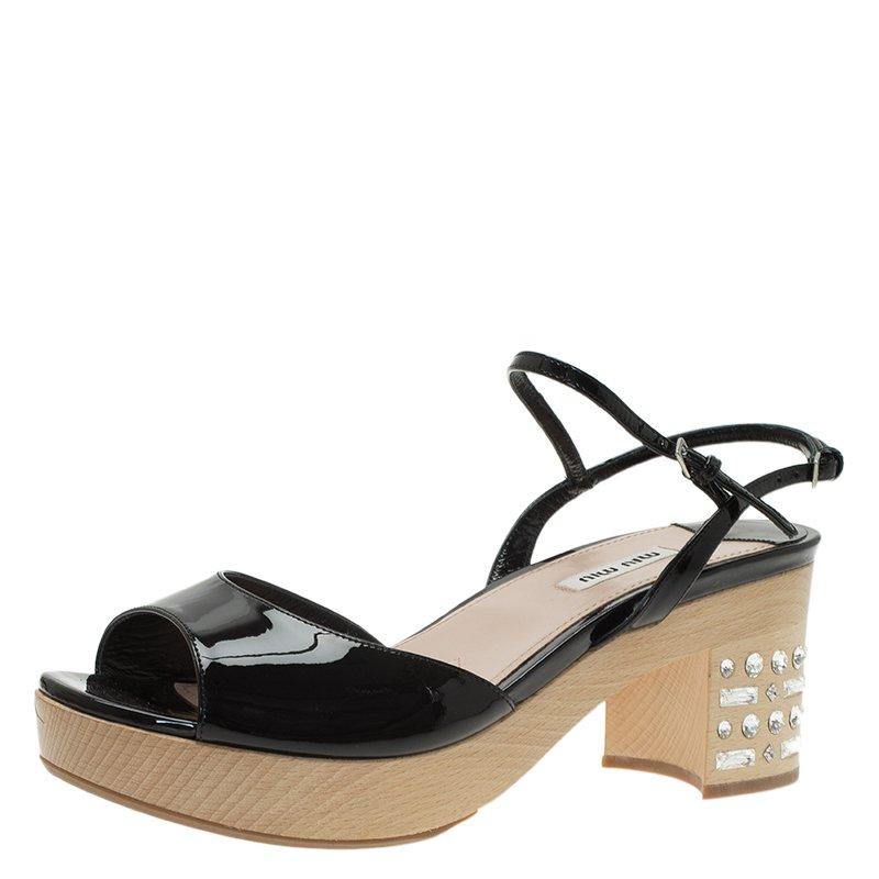69112c3d4c92 ... Miu Miu Black Patent Crystal Embellished Wooden Platform Sandals Size 39.  nextprev. prevnext