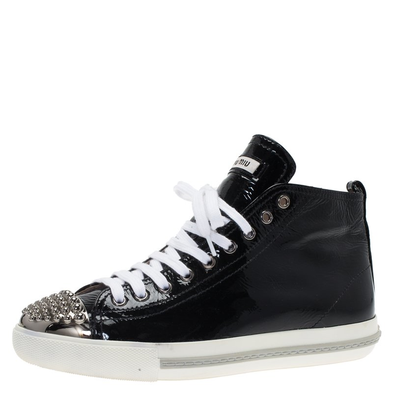25868f6299c0 ... Miu Miu Black Patent Studded Cap Toe High Top Sneakers Size 39.  nextprev. prevnext