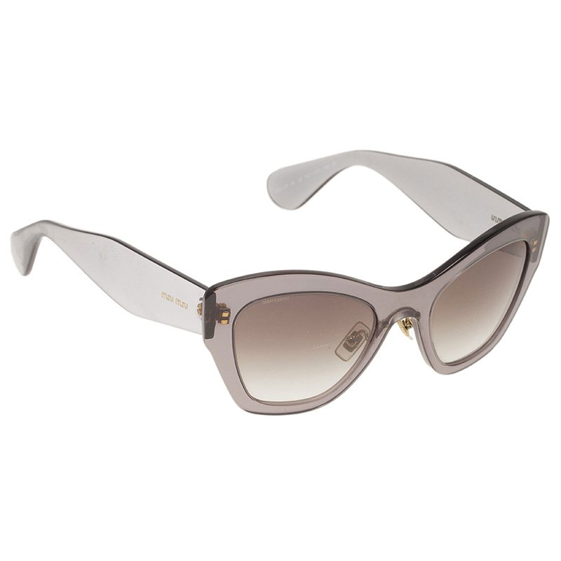 164b2944328 Buy Miu Miu Grey Oversized Cat Eye Sunglasses 43415 at best price