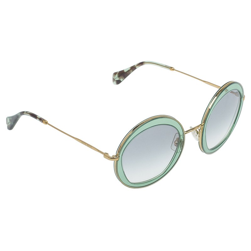 953f38d181f4 ... Miu Miu Green and Gold SMU 50Q Round Sunglasses. nextprev. prevnext
