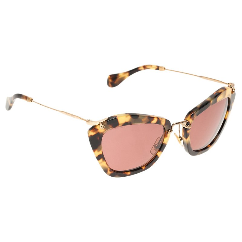 c53602486ea6 Buy Miu Miu Tortoise SMU10N Cat Eye Sunglasses 51661 at best price