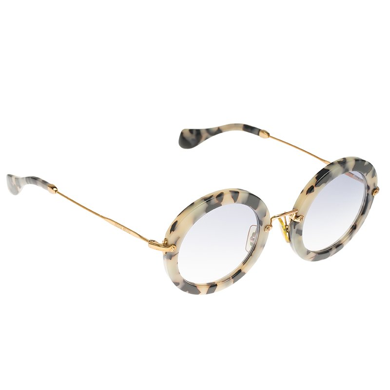 0b11b97d3e ... Miu Miu SMU13N Havana Sand Dark Brown Grey Round Sunglasses. nextprev.  prevnext